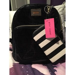 Betsey Johnson Black Backpack With Pouch